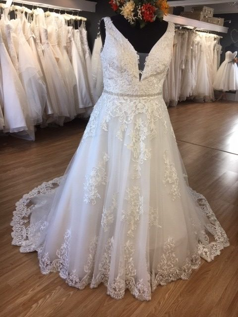 Image 3 of Amore Brides Sunderland Gowns to go, Grace, size 18, £595 A lace ballgown with V-neck, illusion scooped back and beaded belt detail.