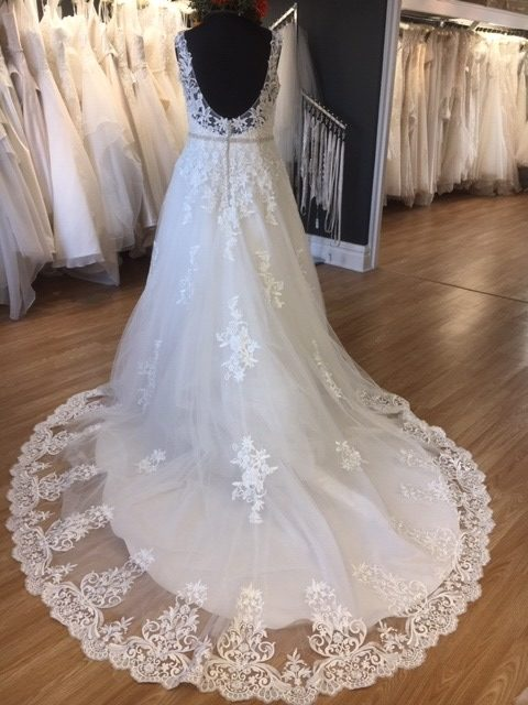 Image 1 of Amore Brides Sunderland Gowns to go, Grace, size 18, £595 A lace ballgown with V-neck, illusion scooped back and beaded belt detail.